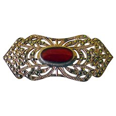 Art Deco Sterling & Carnelian Pin/Brooch With Marcasites