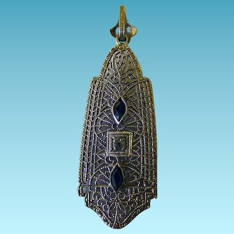 Art Deco Sterling Filigree Pendant