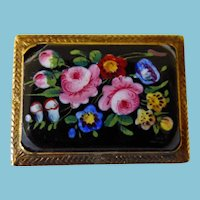 Victorian 10K Floral Brooch/Pin HP On Porcelain