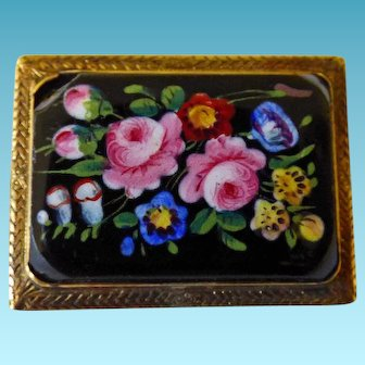 Victorian 10K Floral Brooch/Pin HP On Porcelain
