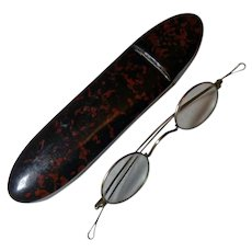 19th Century 10K Eyeglasses in Papier Mache Case