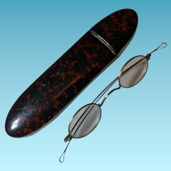 19th Century 10K Eyeglasses in Papier Mache Case