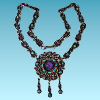 Sterling Mexico MATL Inspired Necklace With Amethyst Turquoise & Coral
