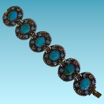 Sterling Mexico MATL Inspired Bracelet With Turquoise & Coral