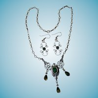 Sterling Art Nouveau Style Necklace & Earrings With Green Crystals