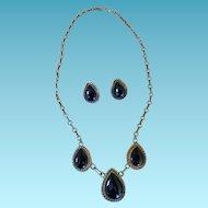 Vintage Sterling & Onyx  Necklace & Earrings.