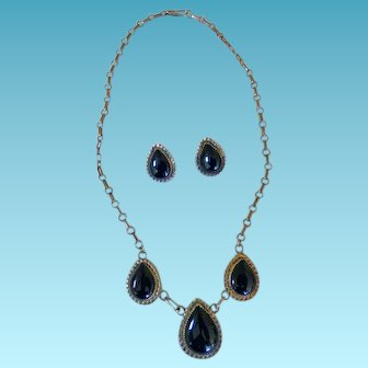 Vintage Sterling & Onyx  Necklace & Earrings.
