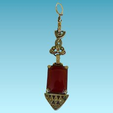 Art Deco Sterling Pendant With Carnelian & Marcasites