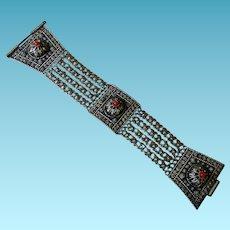 Vintage Israeli 835 Silver Bracelet With Coral