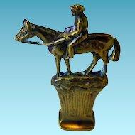 Vintage Bronze Wax Letter Seal Man On Horse