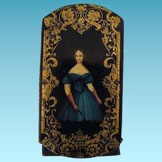 Antique Papier Mache Cigar Case Circa 1830 Pretty Girl In Green Gown