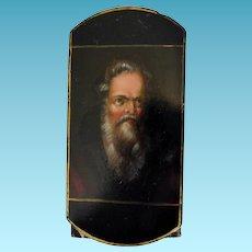 Rare Papier Mache Cigar Case of Bearded Gentleman Early 19th Century