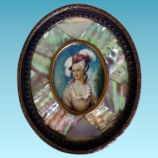 Hand Painted Miniature Portrait Signed Jameson Mother of Pearl & Bronze Frame
