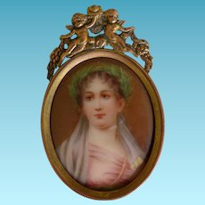 Antique Hand Painted Porcelain Miniature Signed In Cupid Frame
