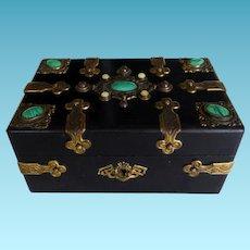 English Victorian Box With Malachite