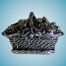Vintage Sterling Figural Basket of Flowers and Fruit