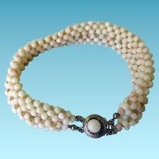 Vintage Angel Skin Coral Bracelet 800 Silver Clasp