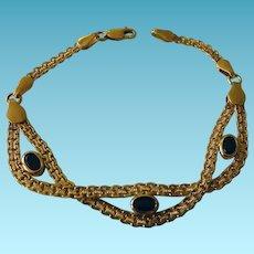 14K Italy Bracelet With Onyx