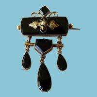 Antique Victorian Black Onyx & Seed Pearl Brooch/Pin 10 Karat