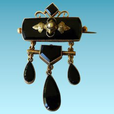 Antique Victorian Black Onyx & Seed Pearl Brooch/Pin 10 Karat