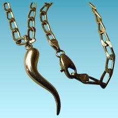 Evil Eye 14K Horn Pendant & Chain Italy