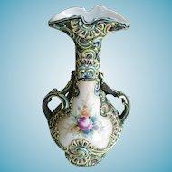 "Nippon Moriage Vase Meiji Period 10 1/2"""