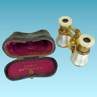 Vintage French MOP Opera Glasses Cased