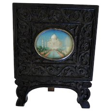 Anglo Indian Carved wood Frame With Taj Mahal Miniature Watercolor.