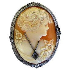800 Silver Cameo Habille Brooch/Pin
