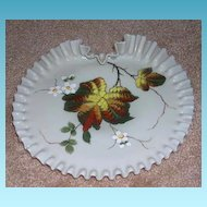 Unusual Victorian Hand Blown Plate With Folded Crimped Edge
