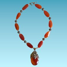 Vintage Carnelian & Sterling Silver Necklace