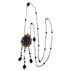 Czech Art Deco Amethyst Glass & Brass Necklace
