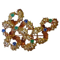 14K Modernest Brooch With Emeralds & Sapphire