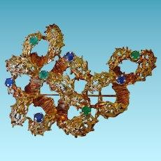 14K Modernest Brooch With Emeralds & Sapphire