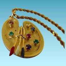 14K Artist Pallet Pendant/Charm With Enamel & Gemstones On 14 K Rope Chain