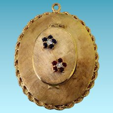 Vintage 14K Locket/Charm/Pendant With Diamonds Rubies & Sapphires