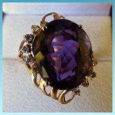 14K Amethyst Ring With Diamonds