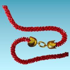 """60"""" Flapper Faux Coral Necklace"""