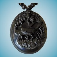 Victorian Gutta Percha Pendant With Jet Chain Necklace