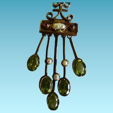 Edwardian Pendant Peridot & Pearl