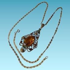 Victorian/Edwardian Citrine Glass Pendant