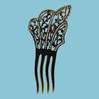 Attractive Celluloid & Rhinestone Hair Comb Four Prong