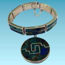 Mexico Sterling & Turquoise Bracelet & Charm Eagle 2 Tereo