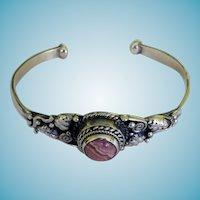 Sterling & Rhodocrosite Open Bangle Bracelet