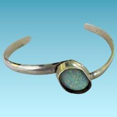 Sterling & Opal Signed Open Bangle Bracelet