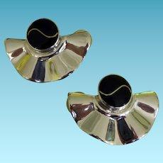 Fabulous Pair Sterling & Black Onyx Earrings Mexico