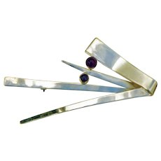 Modernist Sterling Brooch/Pin With Amethyst Cabachons