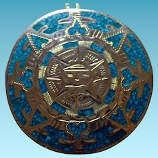 Mexican Sterling & Turquoise Pin/Pendant Plata Jalisco Eagle Mark