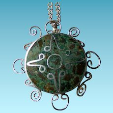 Mexican Sterling & Turquoise Pin/Pendant With Chain Eagle Mark