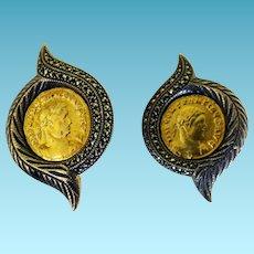 Fabulous Sterling & Marcasite Coin Earrings